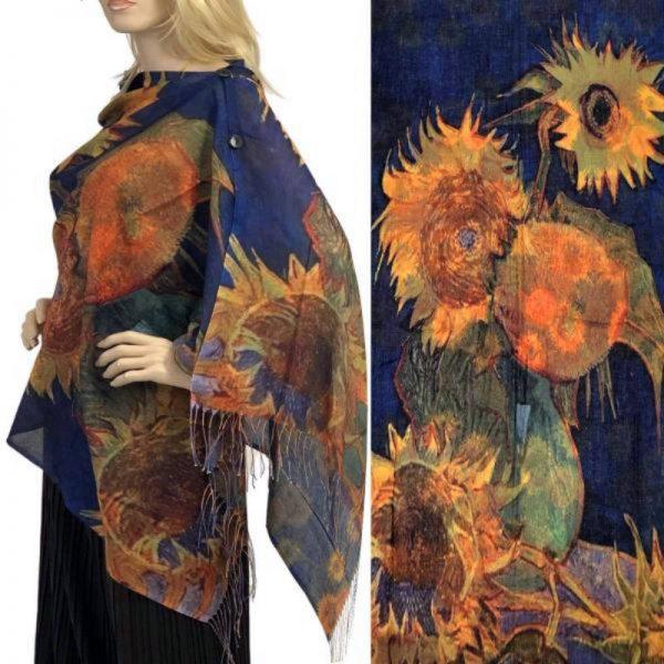 Purple Sunflower Cotton Touch Shawl/Scarf