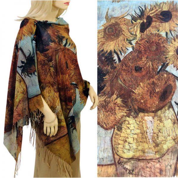 Rust Sunflower Cotton Touch Shawl/Scarf