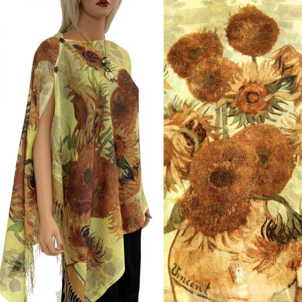 Mustard Sunflower Cotton Touch Shawl/Scarf