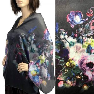 Black Floral Charmeuse Satin Shawl/Scarf