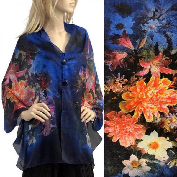 Cobalt Floral Charmeuse Satin Shawl/Scarf
