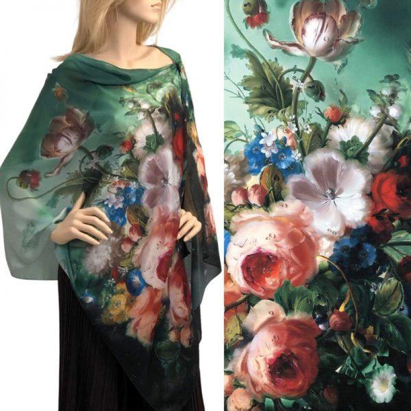 Green Bouquet Charmeuse Satin Shawl/Scarf