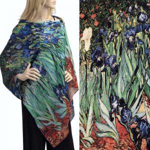 Iris Bouquet Charmeuse Satin Shawl/Scarf