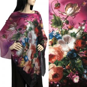 Pink Bouquet Charmeuse Satin Shawl/Scarf
