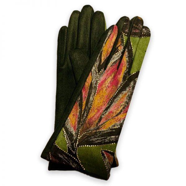 Sage Leaves Fleece-Lined Smart Gloves